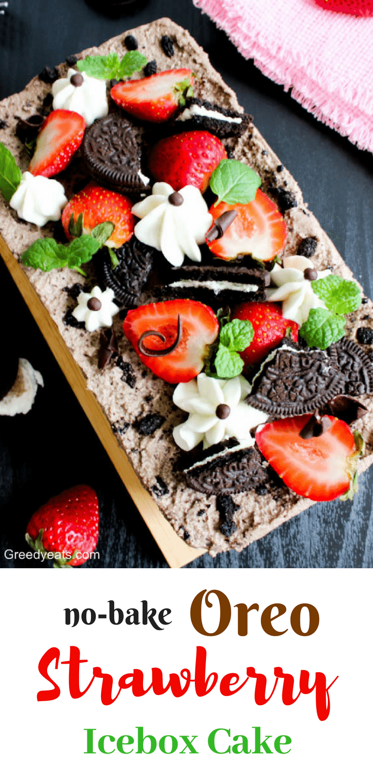 A perfect oreo strawberry icebox cake recipe layered with strawberries, oreo cookies, vanilla and chocolate cream. Topped with strawberries, more cookies and piped whipped cream