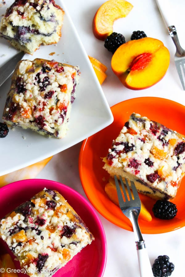 Moist and buttery coffee crumb cake with peach and berry flavors