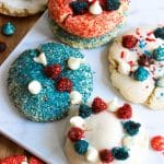 Fourth of july cookies with cake mix, red, blue and white chocolate chips and sprinkles