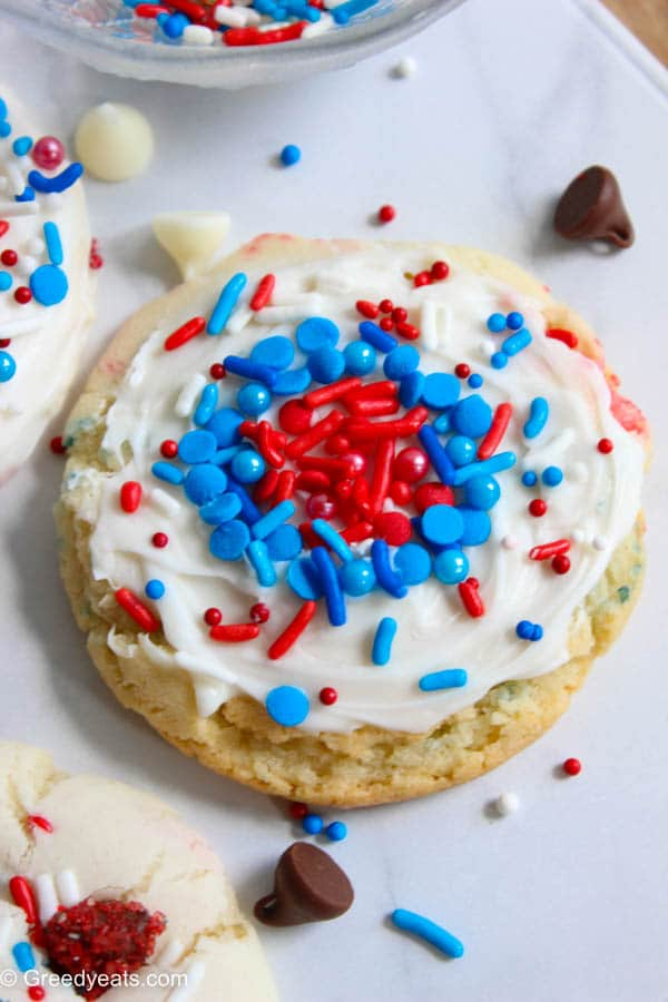 Frosted cookies with cake mix and confetti sprinkles