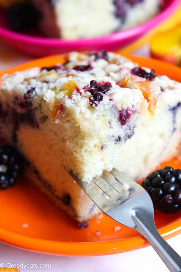 Moist and soft coffee crumb cake slice
