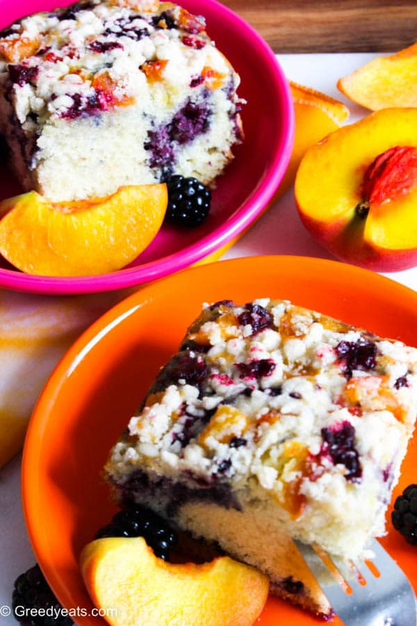 Peach and berry coffee crumb cake