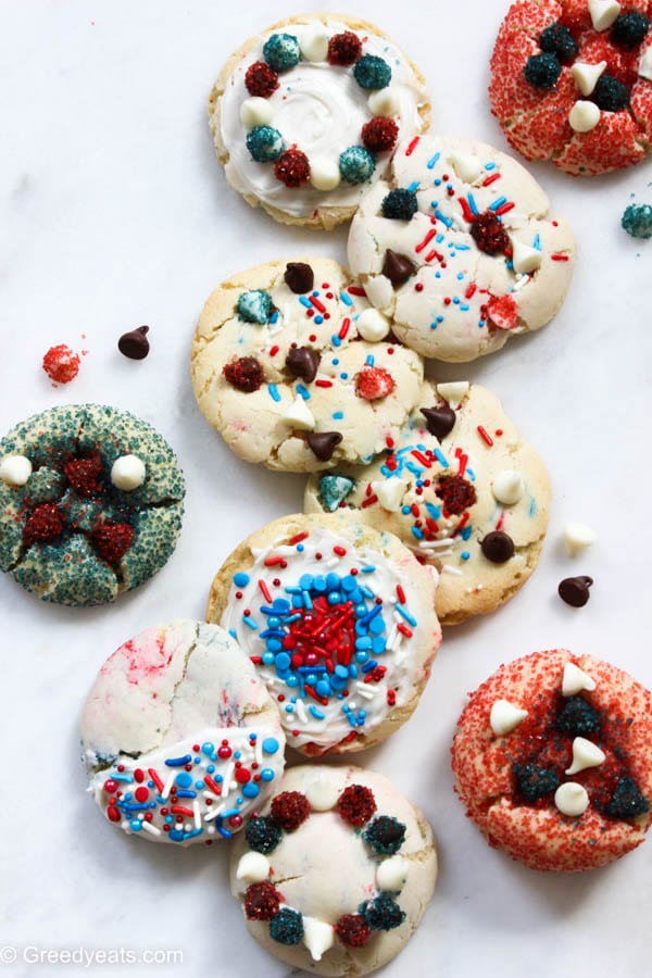 4th of july cookies with cake mix, funfetti sprinkles and chocolate chips