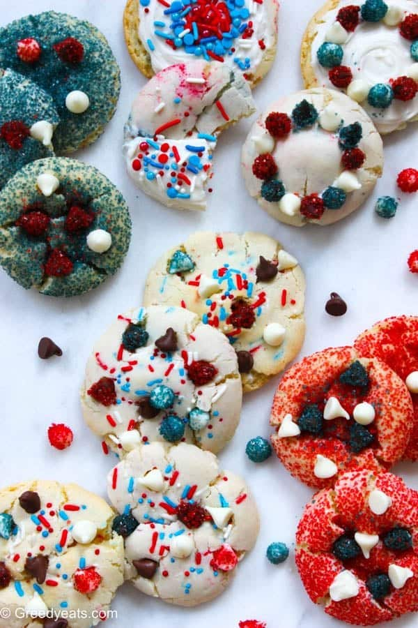 4th of july cookies with cake mix, red and blue sugar dust and chocolate chips