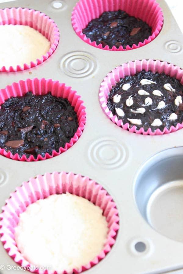 Brownie cupcake recipe process with cheese swirl