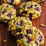 Thick and chewy oatmeal pumpkin cookies with chocolate chunks