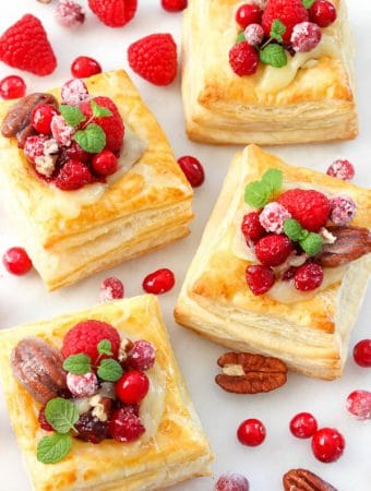 Baked cranberry brie puff pastry squares recipe