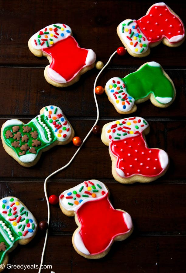 Small batch of Christmas sugar cutout cookies with easy sugar icing