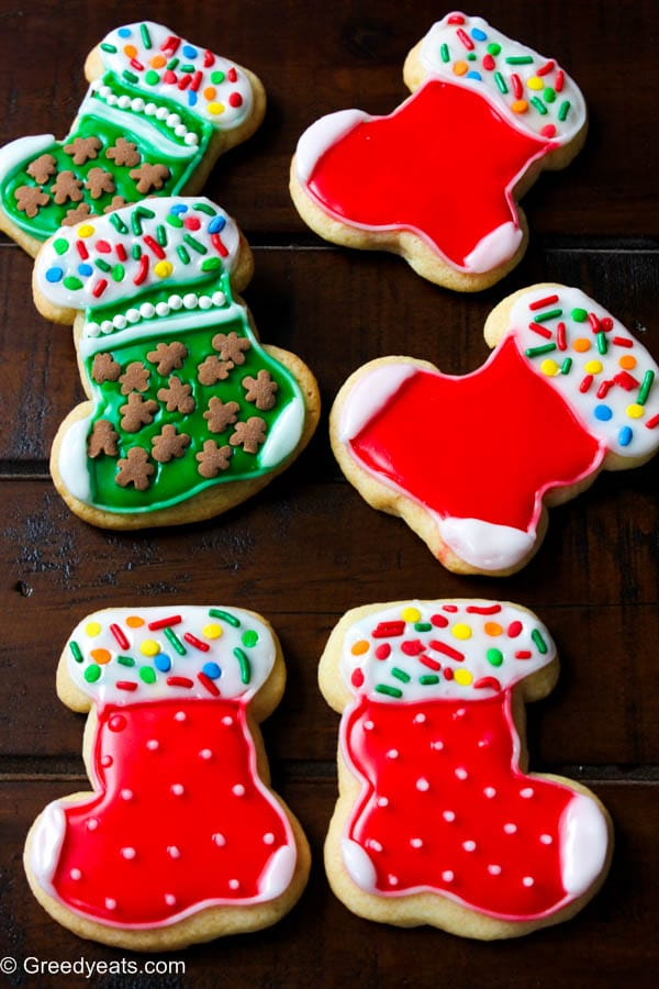 Stocking cookies with easy sugar icing, they are my easy to decorate small batch sugar cookies!