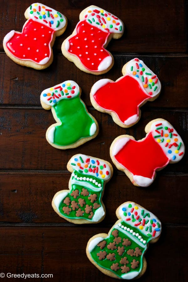small batch sugar cookies with easy sugar icing, without meringue powder. These are my decorated christmas stocking cookies.