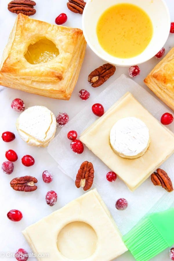 Cranberry brie puff pastry assembly