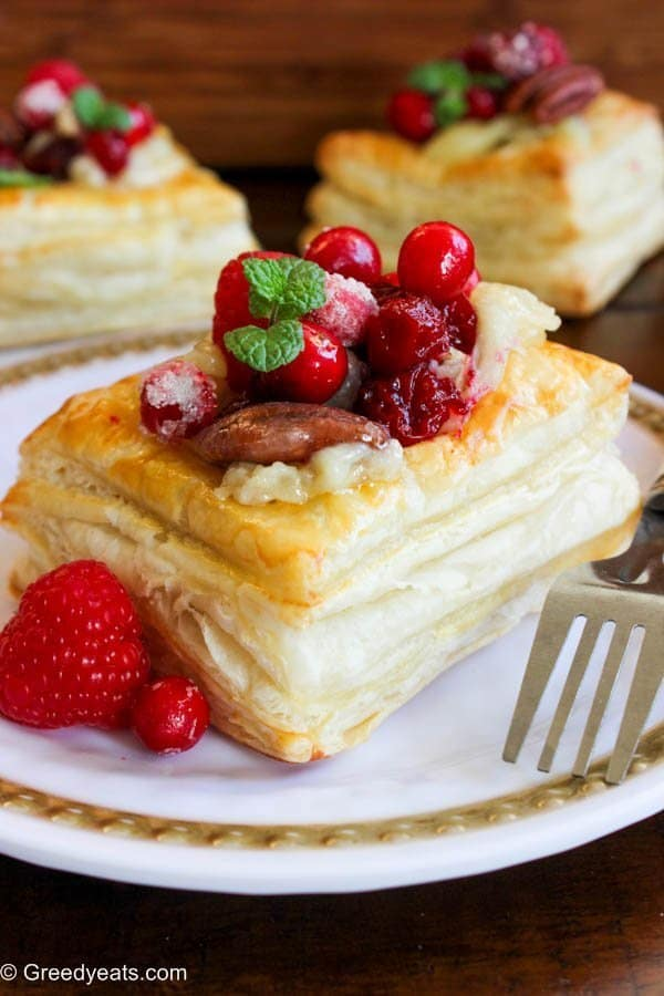 Cranberry brie puff pastry squares recipe for holiday entertaining