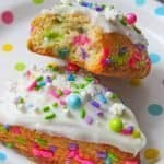 Breakfast just got a hell lot better with this easy scones recipe topped with funfetti sprinkles.