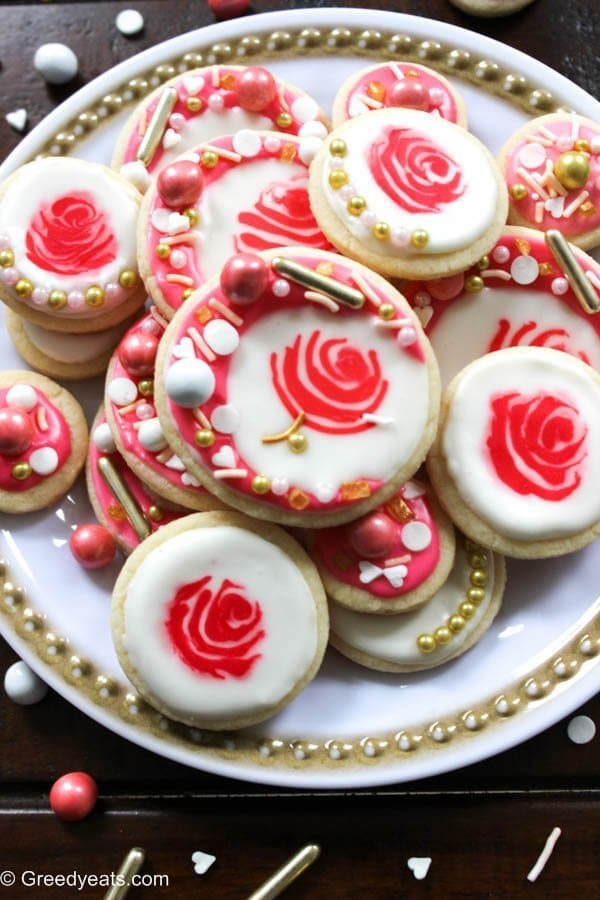 Rose Cookies For Valentines Day