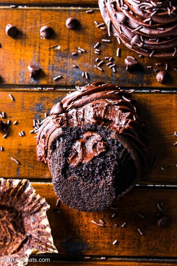 Treat yourself to this small batch Chocolate Cupcakes with Chocolate Ganache frosting recipe