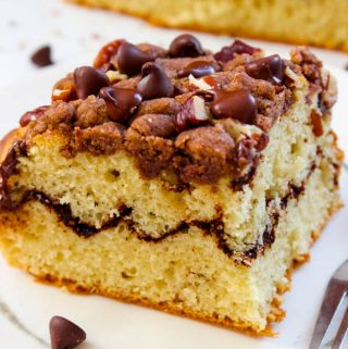 Best cinnamon coffee cake recipe ever! Topped with a thick cinnamon crumb, chocolate chips and pecans. The cinnamon crumb is to die for rich, buttery and is scented with a hint of ginger.
