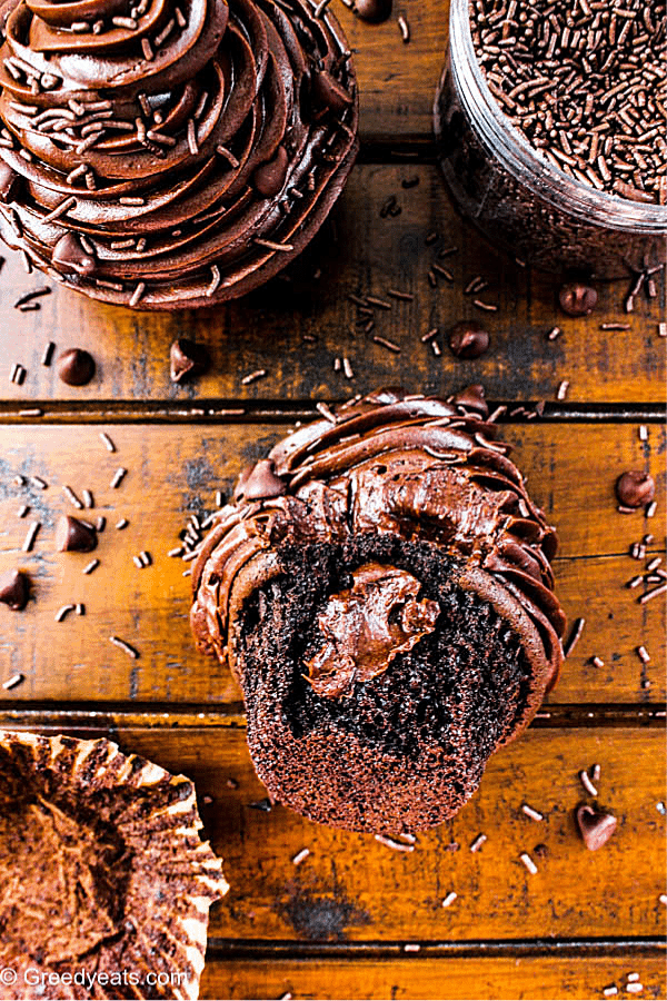 Moist and decadent Small Batch Chocolate Cupcakes with Creamy Chocolate Frosting.