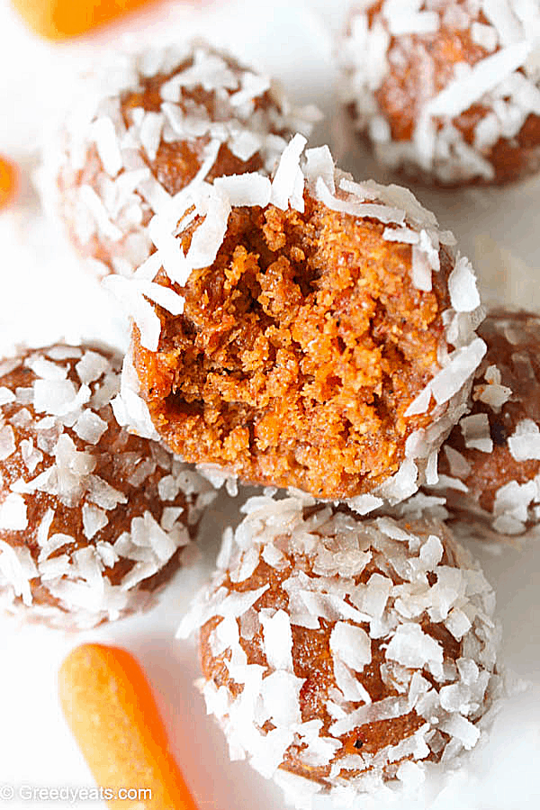 Close up texture of moist and chewy, easy and quick Energy Bites flavored with carrot cake.