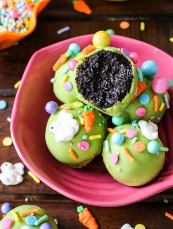Chocolate easter cake pops with easter sprinkles are perfect spring time dessert for easter holiday or as an easter gift