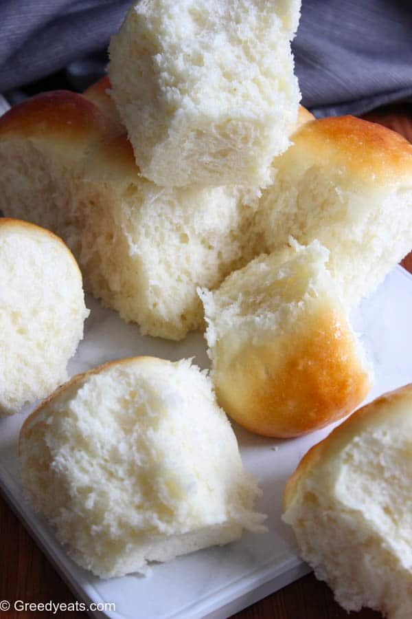 Quick, easy and the best homemade dinner rolls made with yeast, flour, milk, butter and egg.