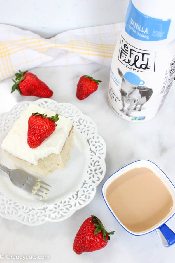 Perfect tres leches cake soaked in three kinds of milk. One of them in this recipe is Left Field Farms Creamer!