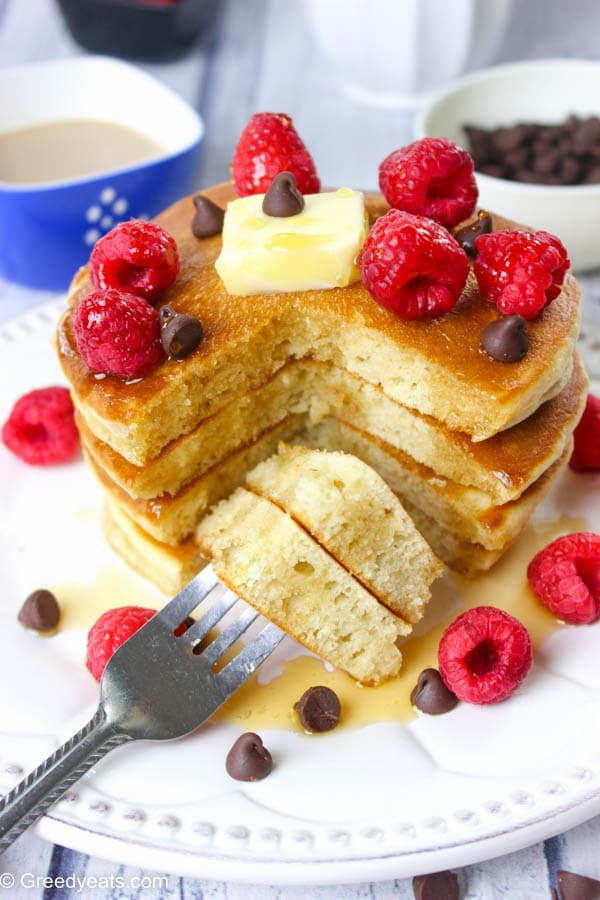 Quick and easy pancakes recipe from scratch that takes less than 30 minutes start to finish.