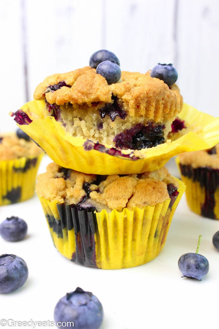 You may use fresh berries when in season and replace with frozen berries (if not) when you crave these banana blueberry muffins with crumb topping
