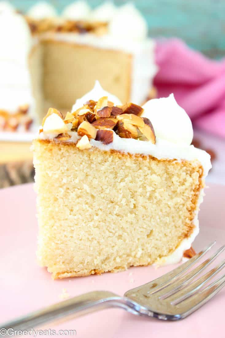 Tender and buttery almond cake with balanced almond flavors topped with sweet almond cream cheese frosting!