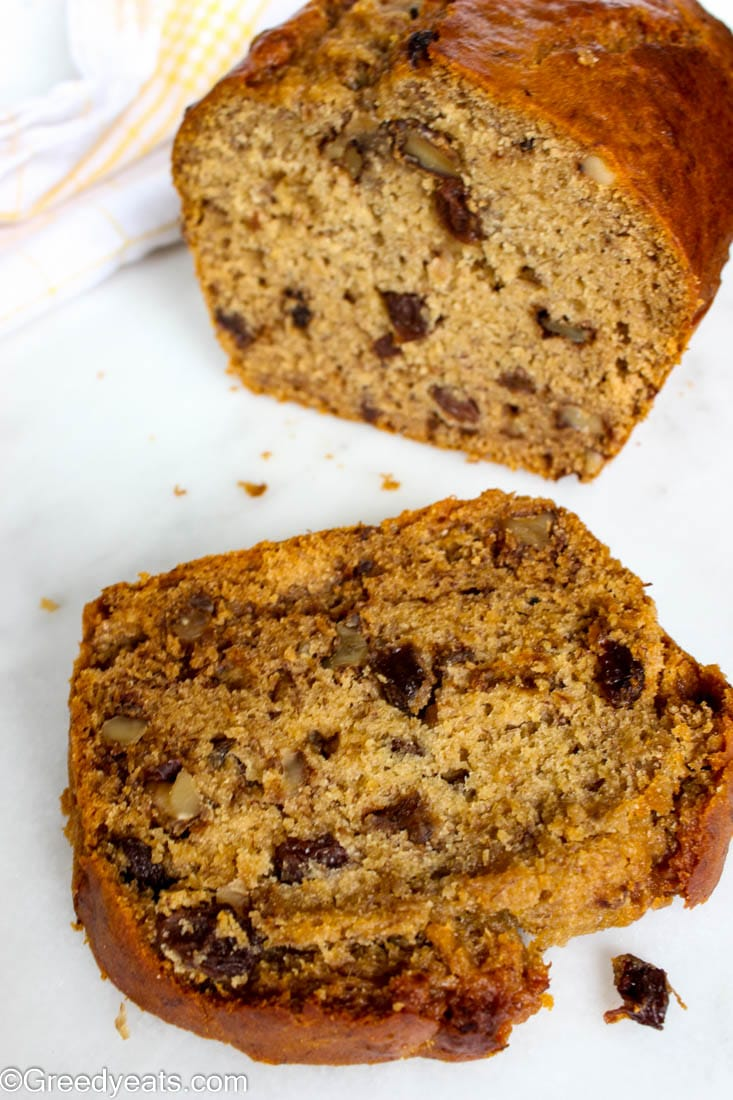 Butter free, processed sugar free, zero apf healthy and wholesome banana bread recipe.