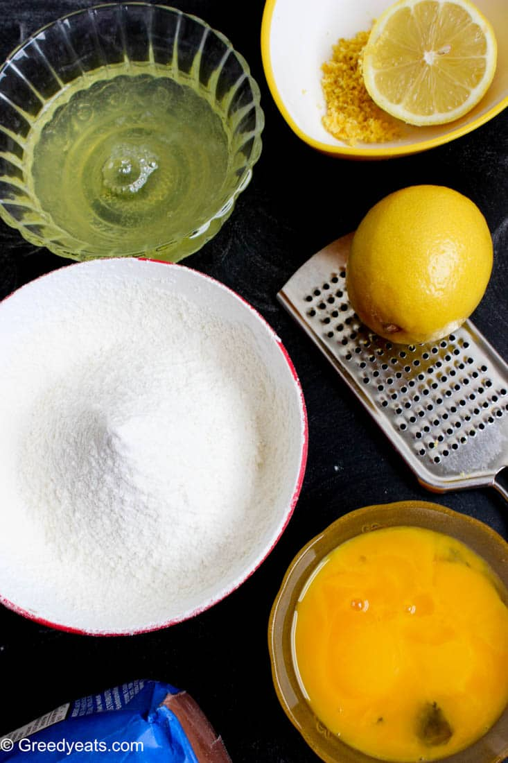 Ingredients for making Lemon Cupcakes.