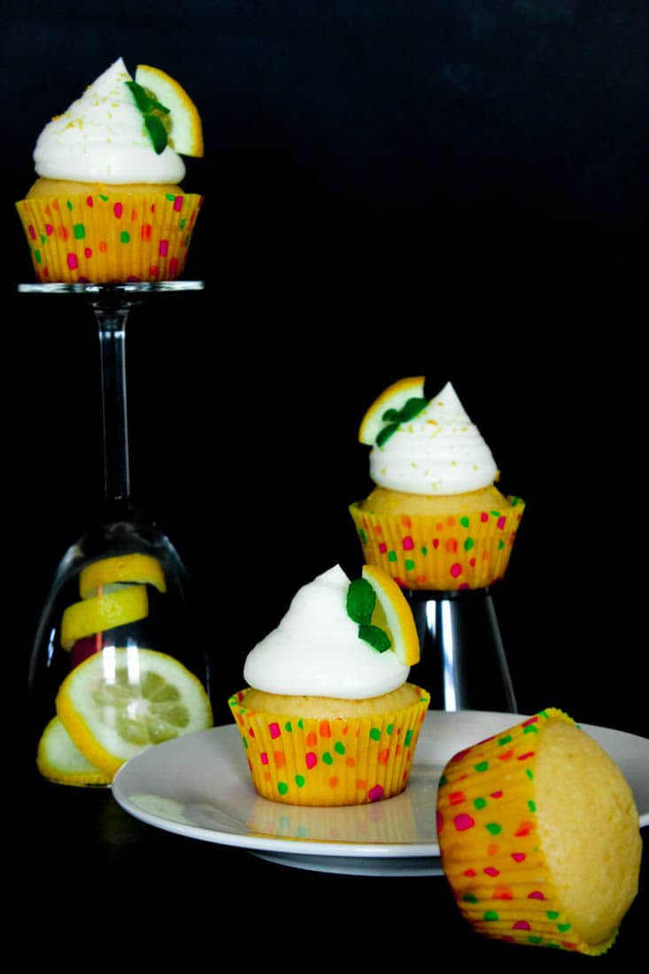 Moist and fluffy Lemon Cupcakes topped with light and creamy Lemon Frosting