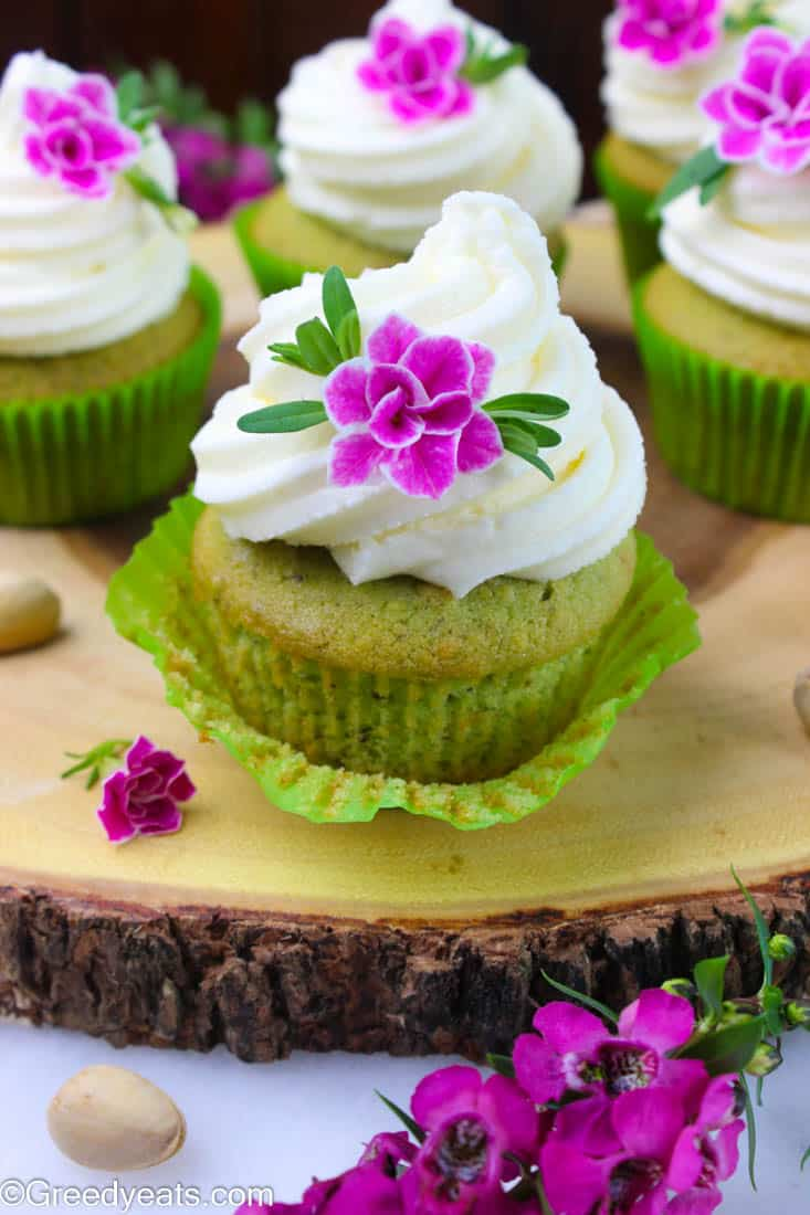 Pistachio cupcakes that bake super soft, fluffy and tinted green are best as summer cupcakes and as easter cupcakes.