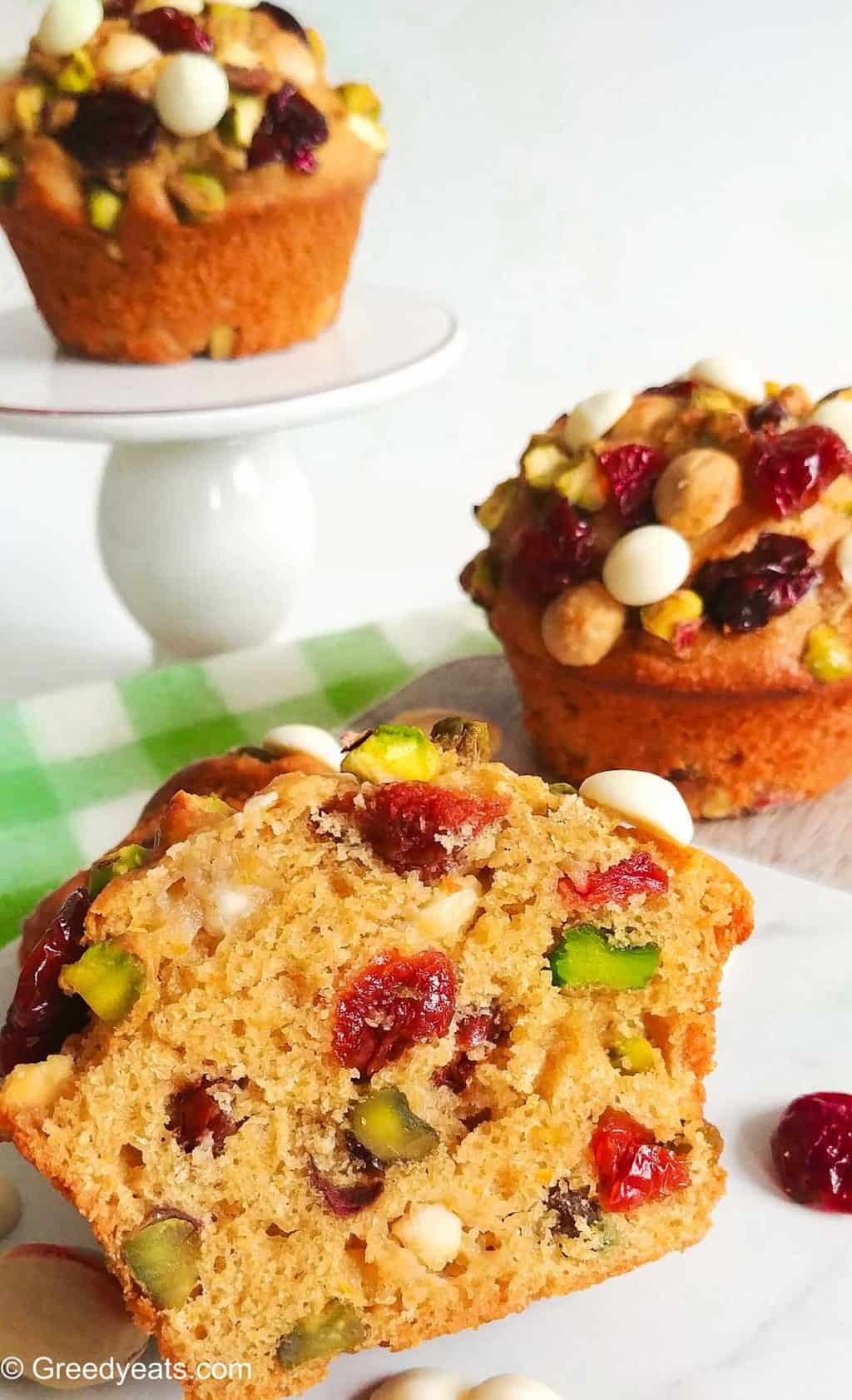 Soft and fluffy Cranberry Orange Muffin Recipe made with whole grains.