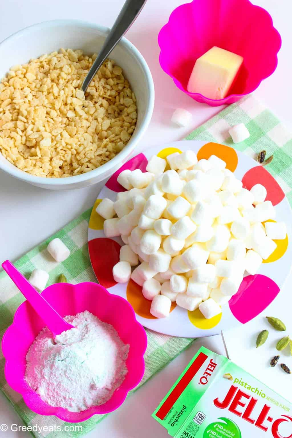 Marshmallow, cereal and jello for rice krispie treats