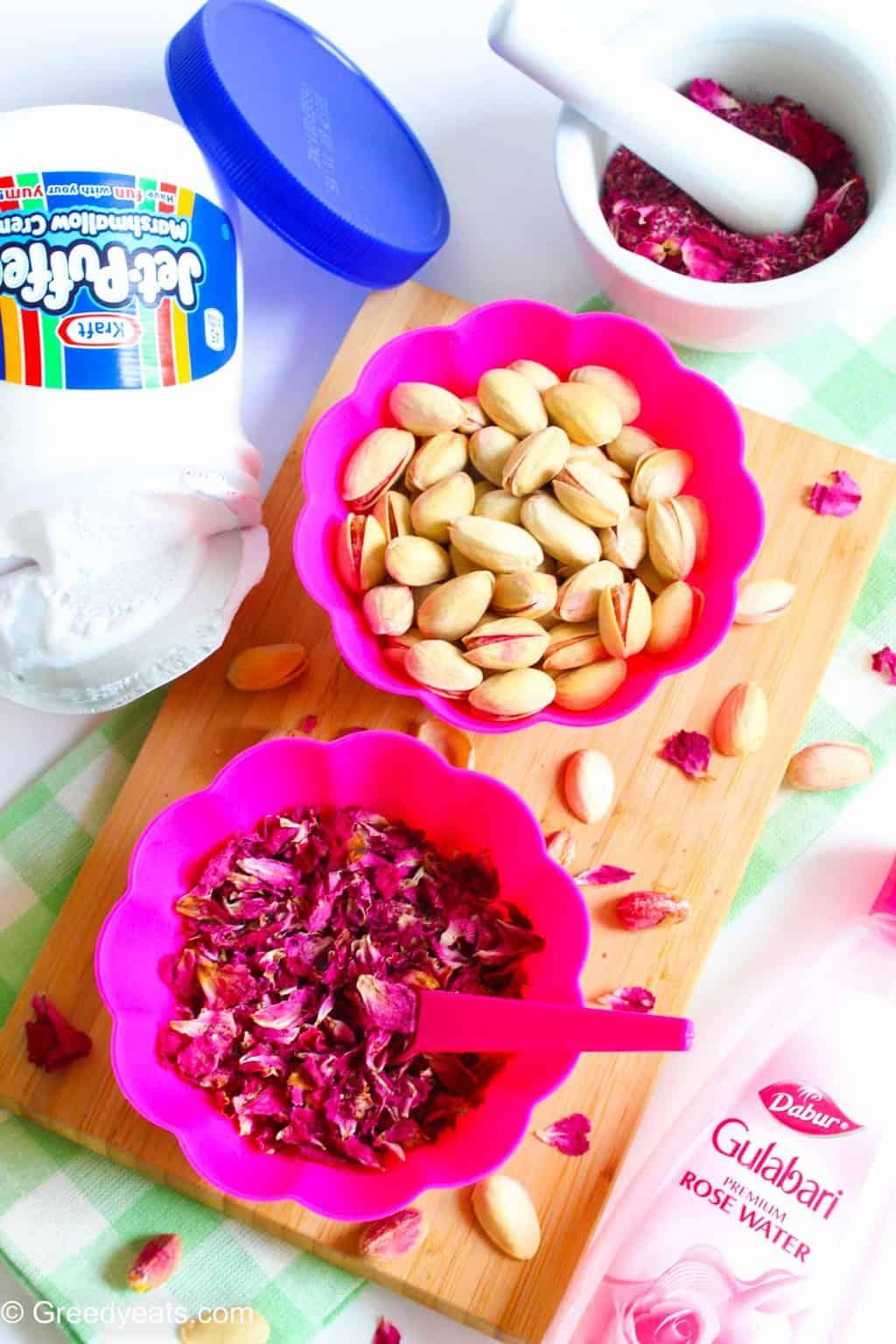 Pistachios and rose petals to flavor treats.