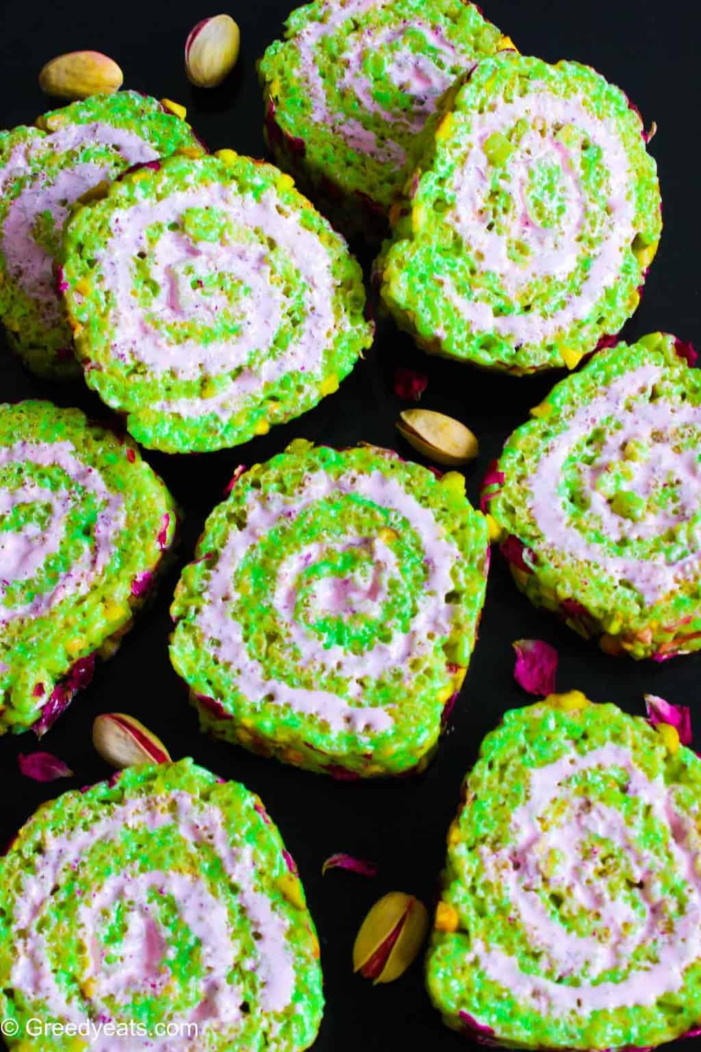 Rice Krispie Roll ups flavored with pistachios and rose marshmallow fluff.
