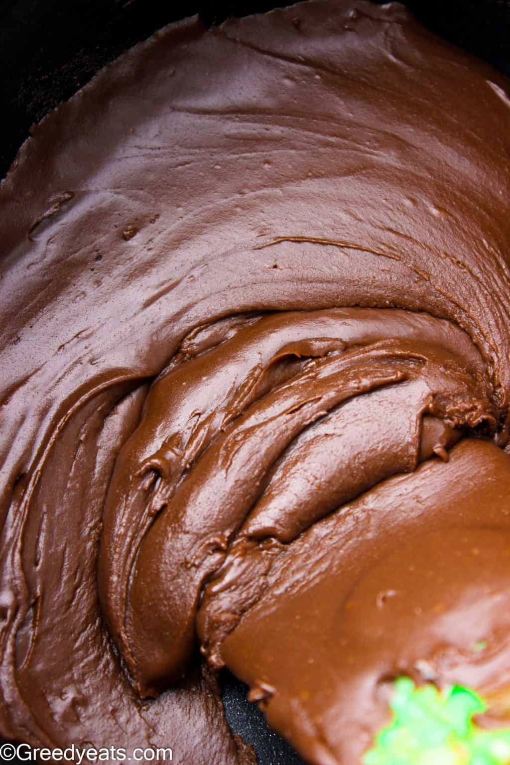 Easy chocolate frosting amde with sweetened condensed milk and dark chocolate