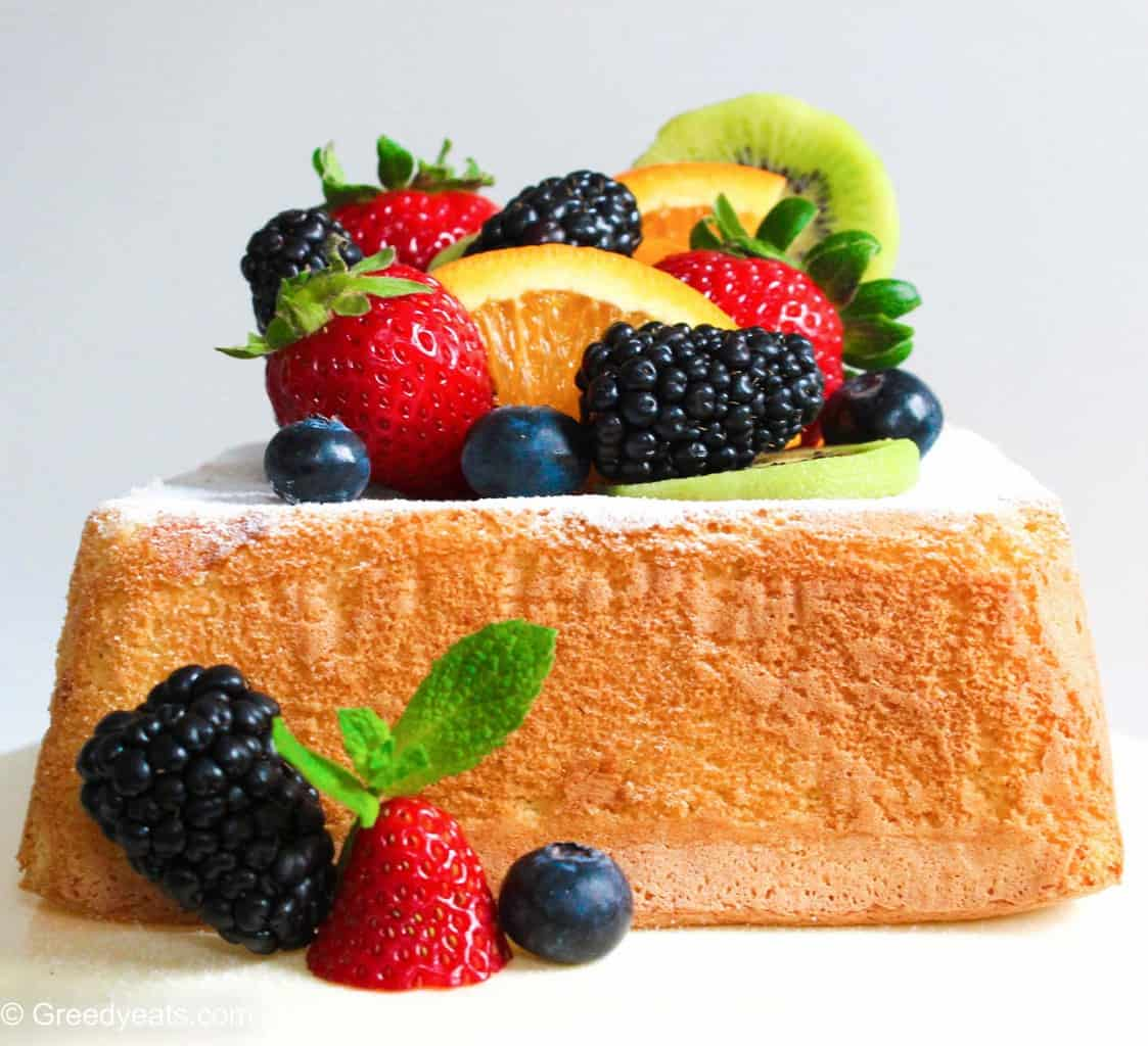 Easy and small batch Lemon Cake baked in 6 inches square pan, topped with fresh fruits.