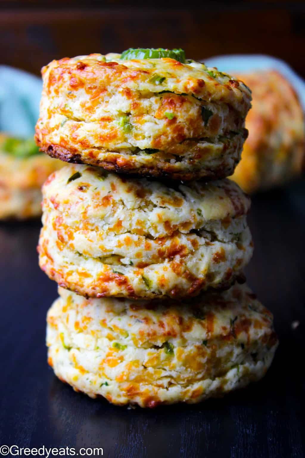Homemade and easy Jalapeno Biscuits made with cheddar cheese, buttermilk, butter, salt and garlic powder.