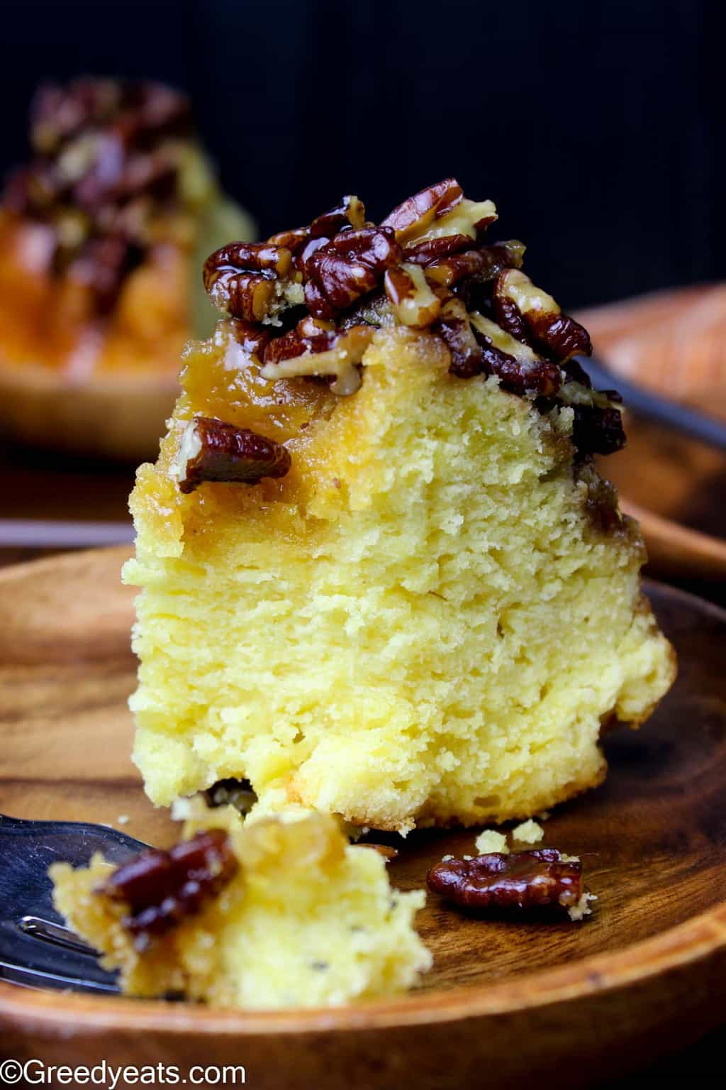 Soft, fluffy and buttery Pecan pie pound cake with pecan pie filling!