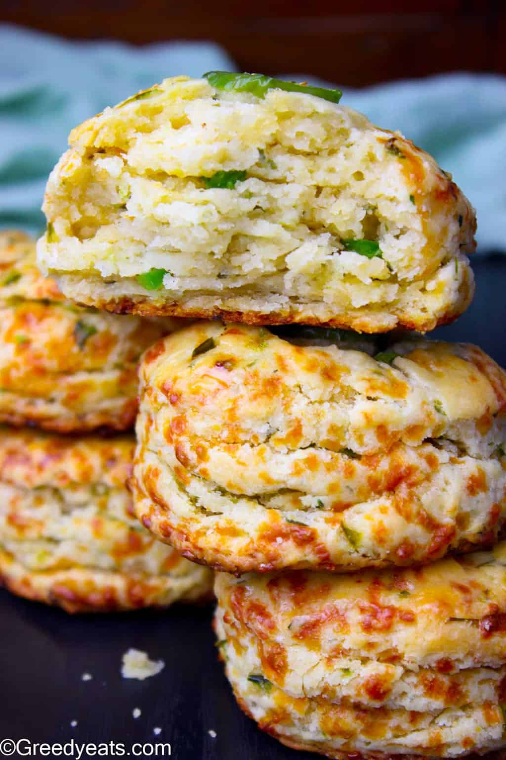 Homemade Jalapeno Cheddar Biscuits recipe that produces flakiest biscuits around. Recipe on Greedy Eats!