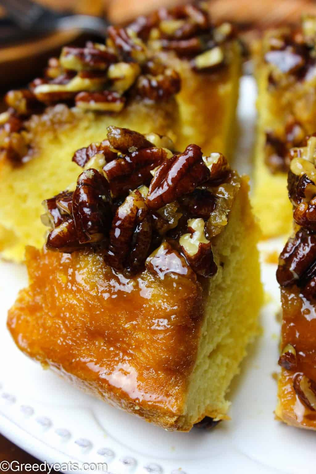 Buttery, gooey, sticky, soft and caramel-y are the only synonyms to this homemade Pecan Pie Cake!