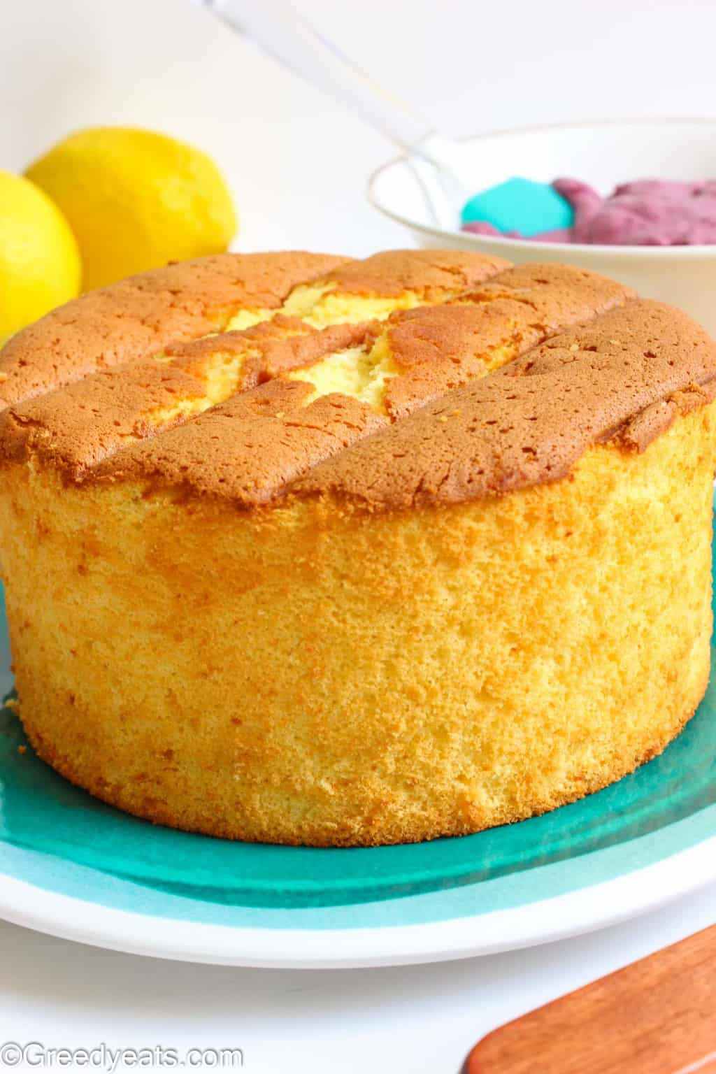 Tall and fluffy Lemon Chiffon Cake baked in a 6 inch pan. Recipe on Greedyeats.com