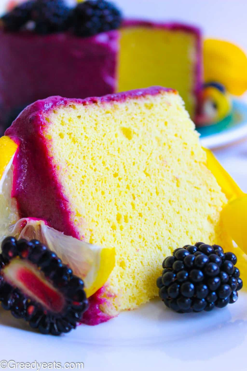 Soft, fluffy and velvety Lemon Chiffon Cake Recipe made without a tube pan.