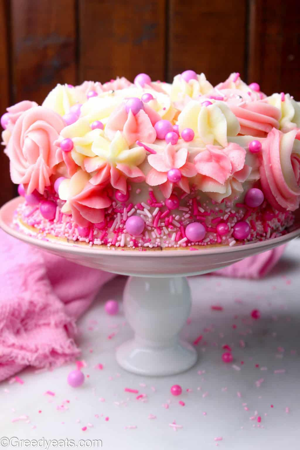 Small Vanilla Cake with smooth and pipeable vanilla buttercream frosting recipe.