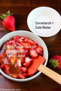 Homemade strawberry filling in a microwave safe bowl.