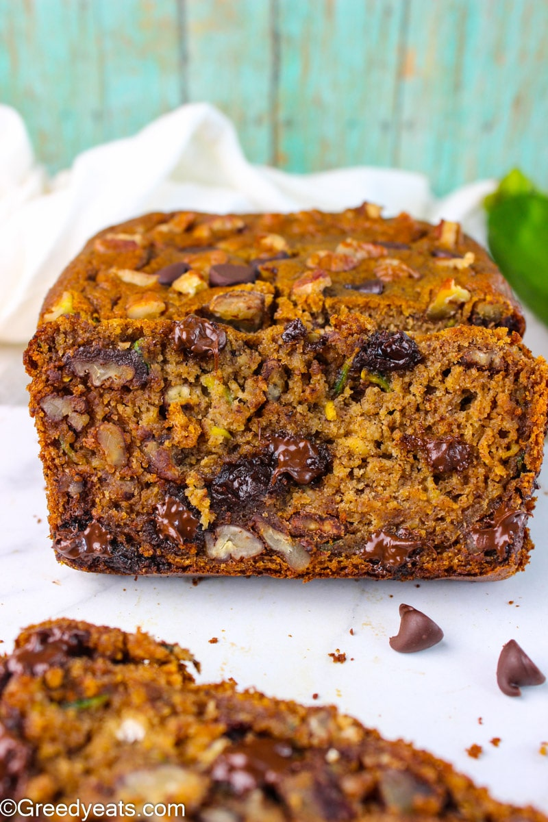 Made with good for you ingredients, freshly baked Healthy Banana Zucchini Bread.