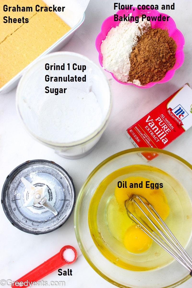Ingredients list used to make Gooey Homemade brownies.