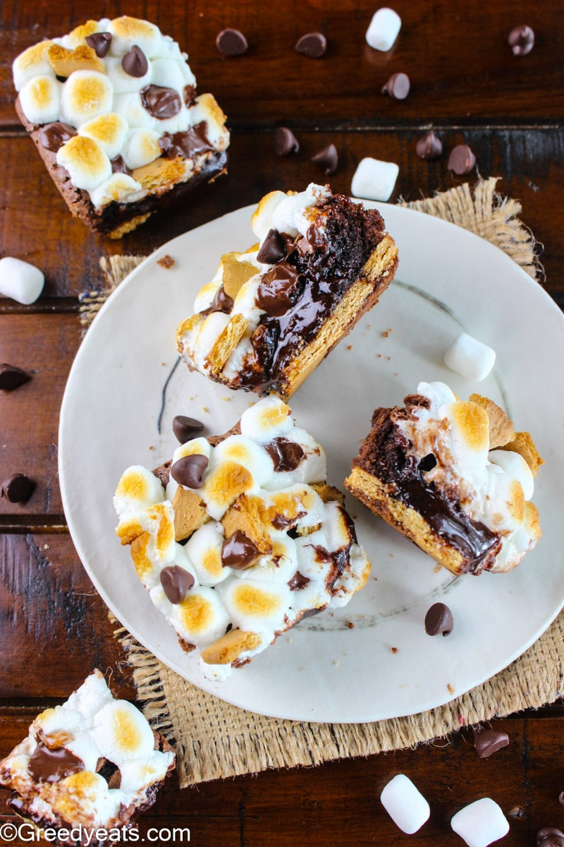 Gooey Brownies from scratch served as layered S'mores brownies on a white plate.
