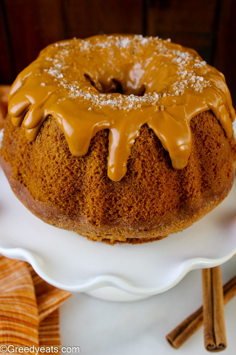 Fluffy and soft Cinnamon Bundt Cake with thick Caramel Brown Sugar Glaze.